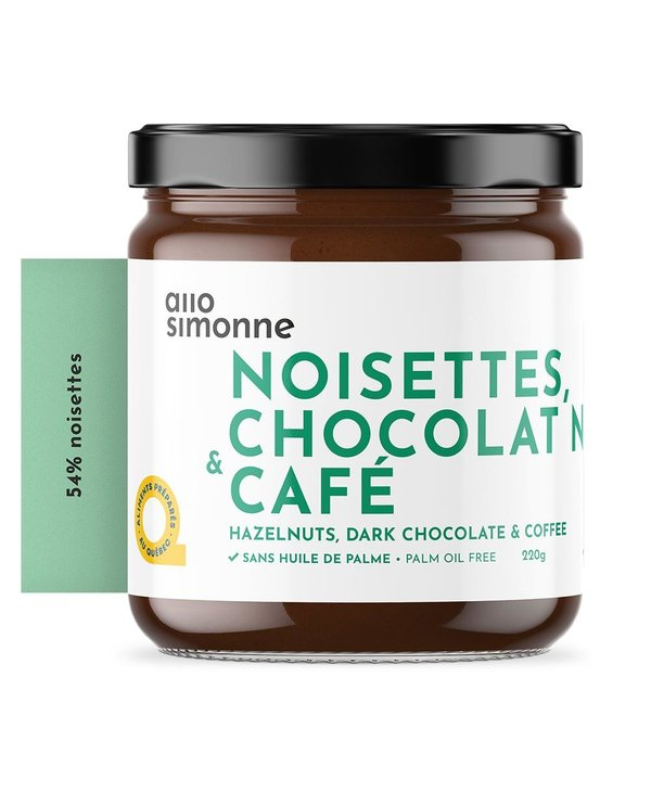 Tartinade noisettes chocolat noir & café