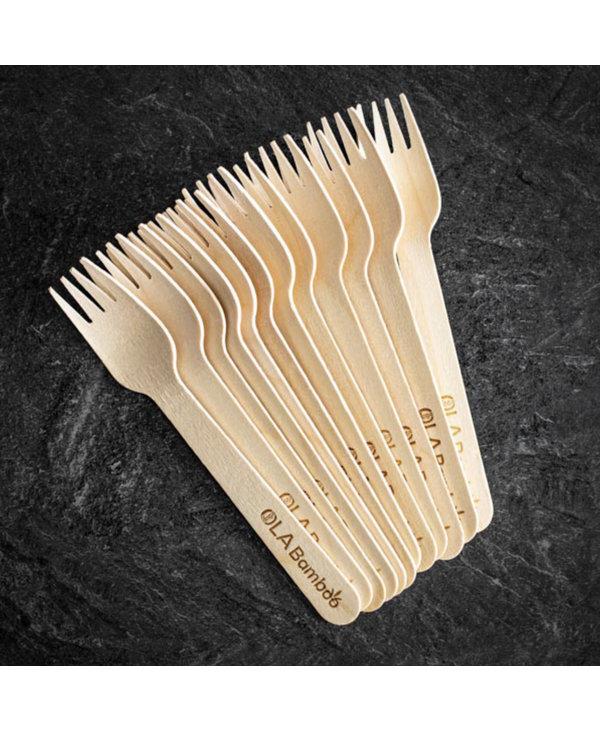 Fourchette en bamboo à l'unité