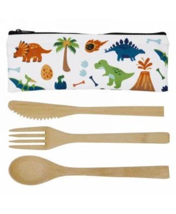 Ustensiles en bambou & pochette dinosaures