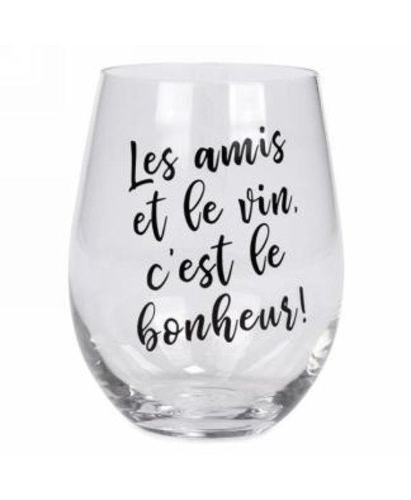Verre à vin sans pied Les amis et le vin c'est le bonheur