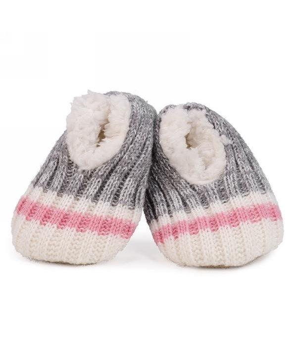 Paire de pantoufle tricot gris et rose pour bébé