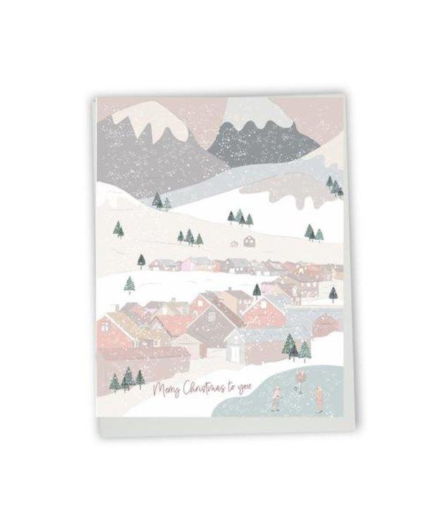 Carte de souhaits Merry Christmas to you- village
