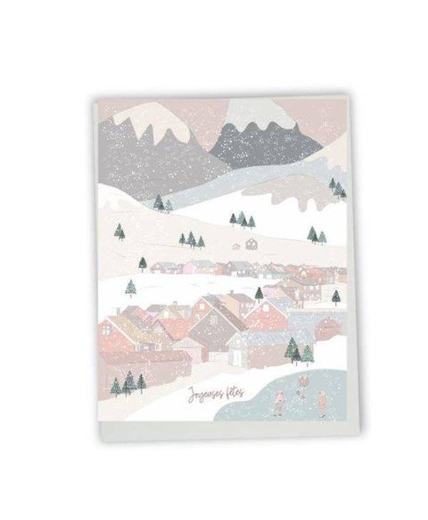 Carte de souhaits Joyeuses Fêtes- village