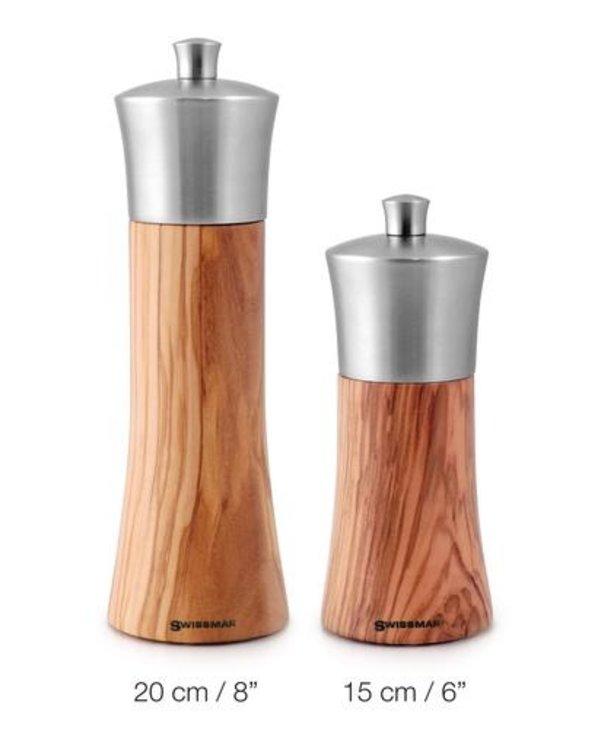 Salière bois et acier inox 15cm