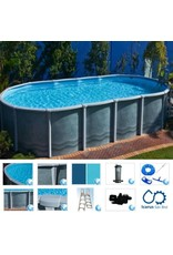"Classic Pools Aquarius Salt Water Oval Braceless 9.1 m x 4.6 m x 1.37 m; Resin Coping Size 160 mm, 1 Hp Pump, Sand Size 25"" S, Zodiac Ei25 Salt Water Chlorinator"