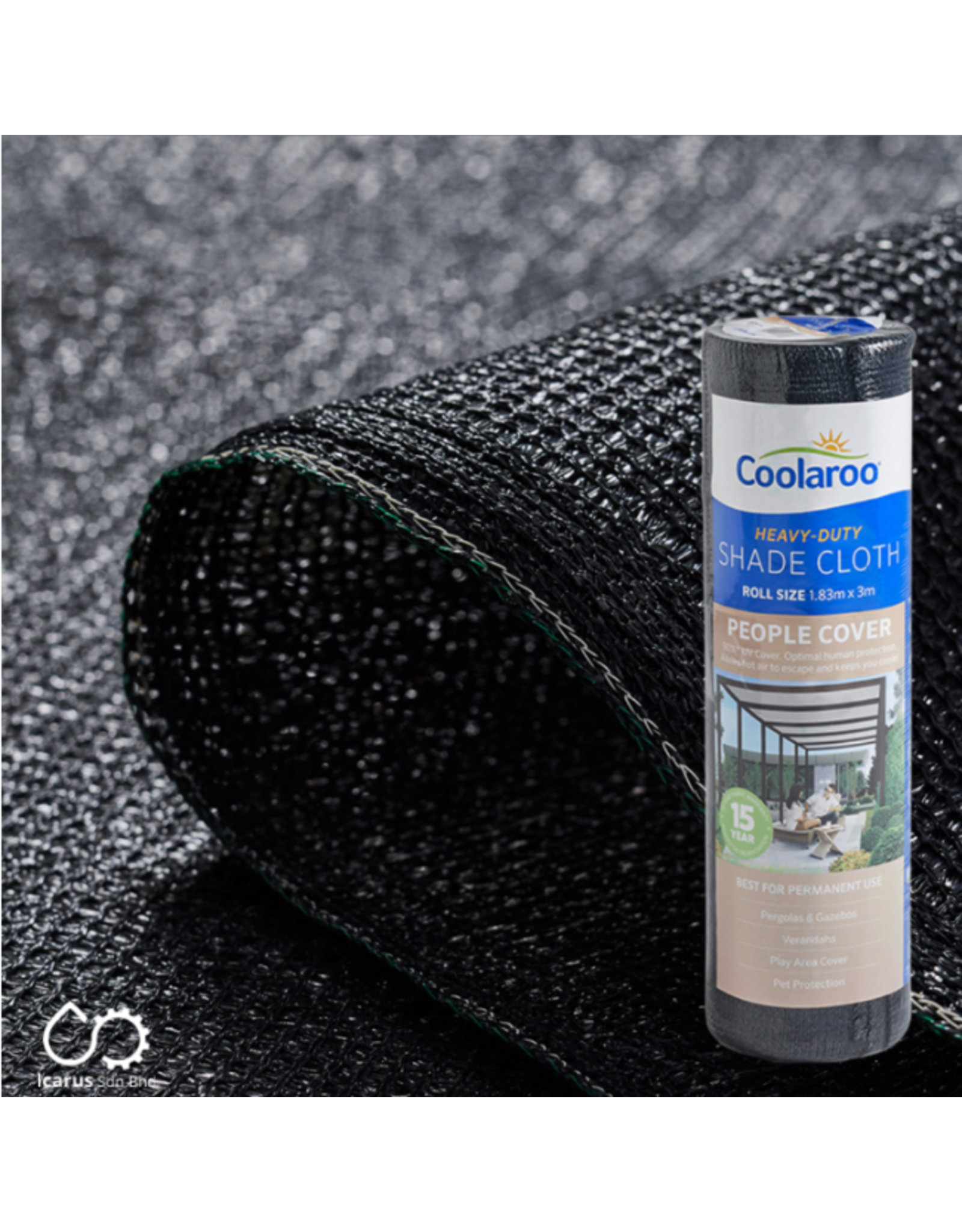 Coolaroo 1.83 x 3m  People Cover Shade Cloth, 90% UV Protection, Color Charcoal