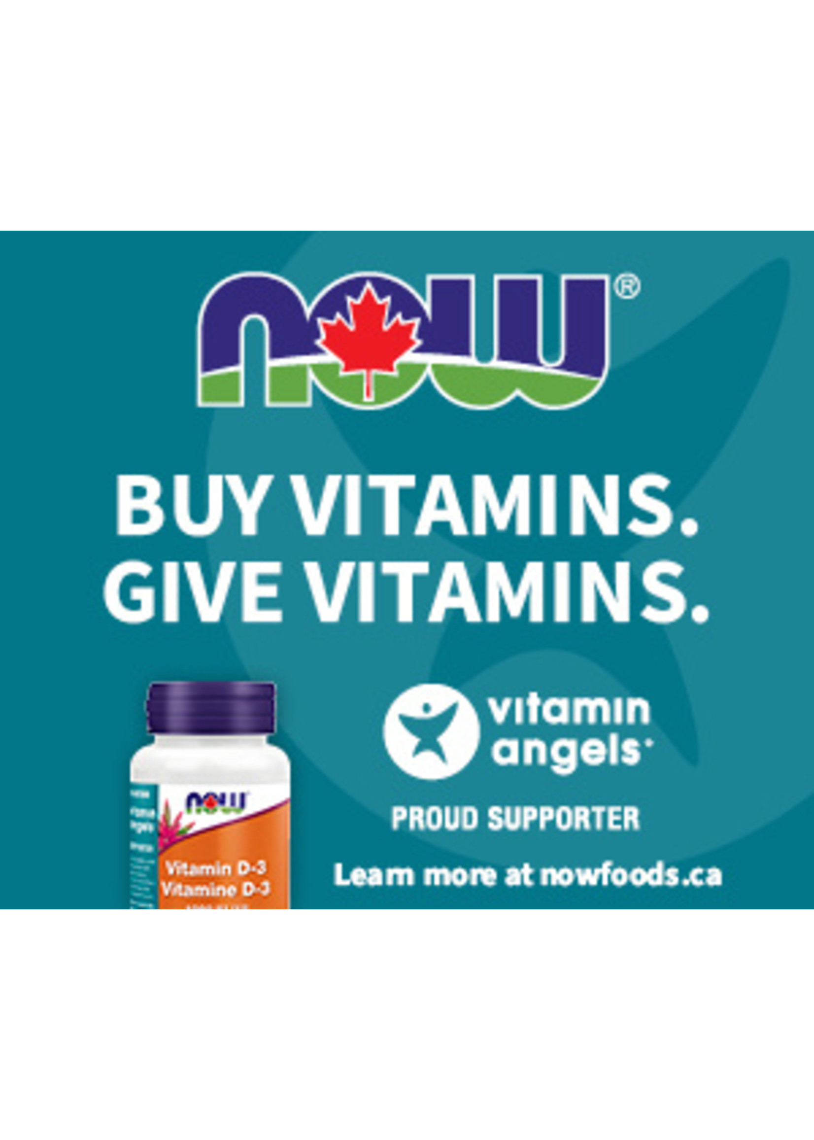 Now Now Vitamin D3 1000IU 180caps - Thank you for Supporting the Vitamin Angels Charity!