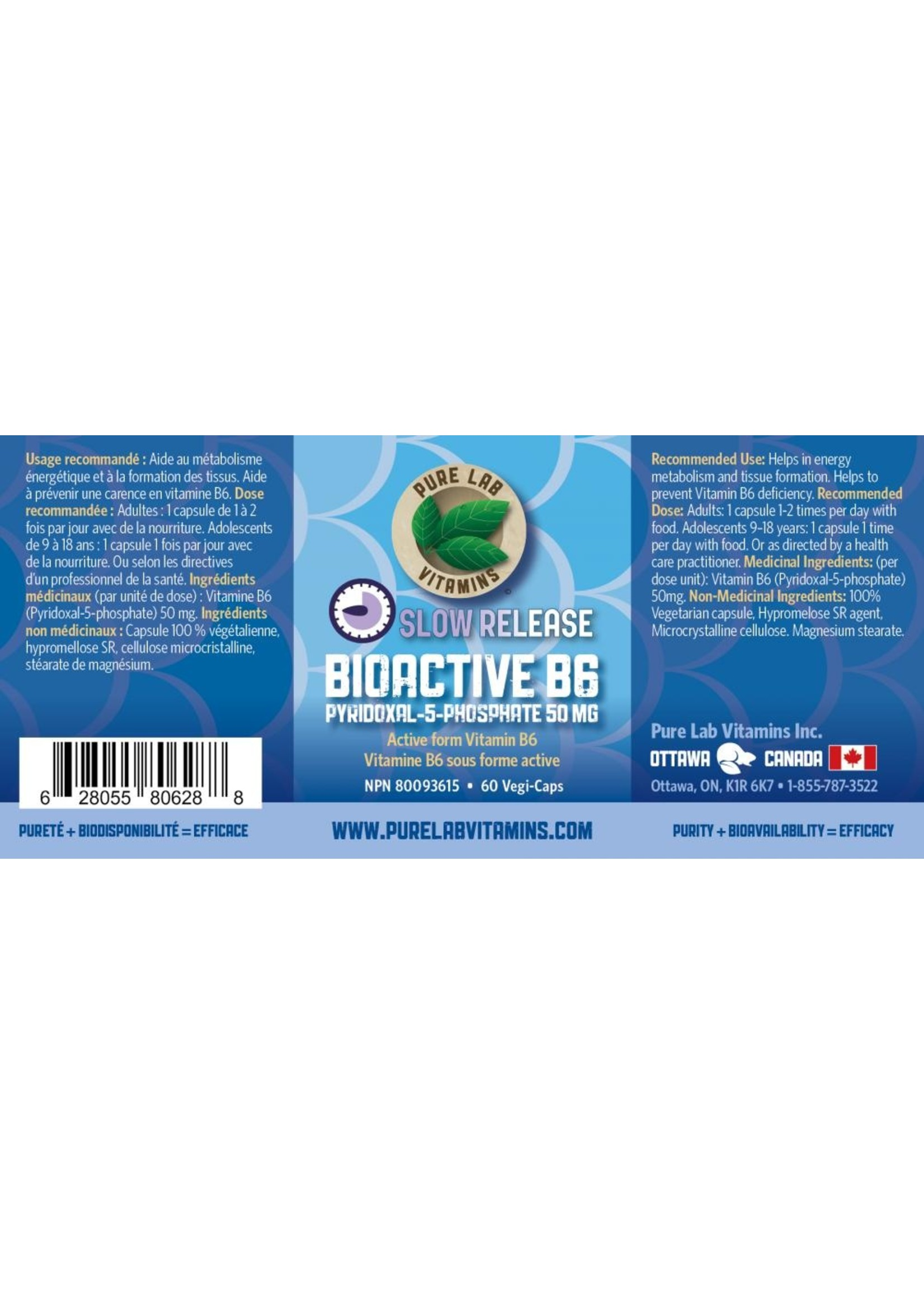 Pure lab Pure Lab Bioactive B6 50mg Slow Release