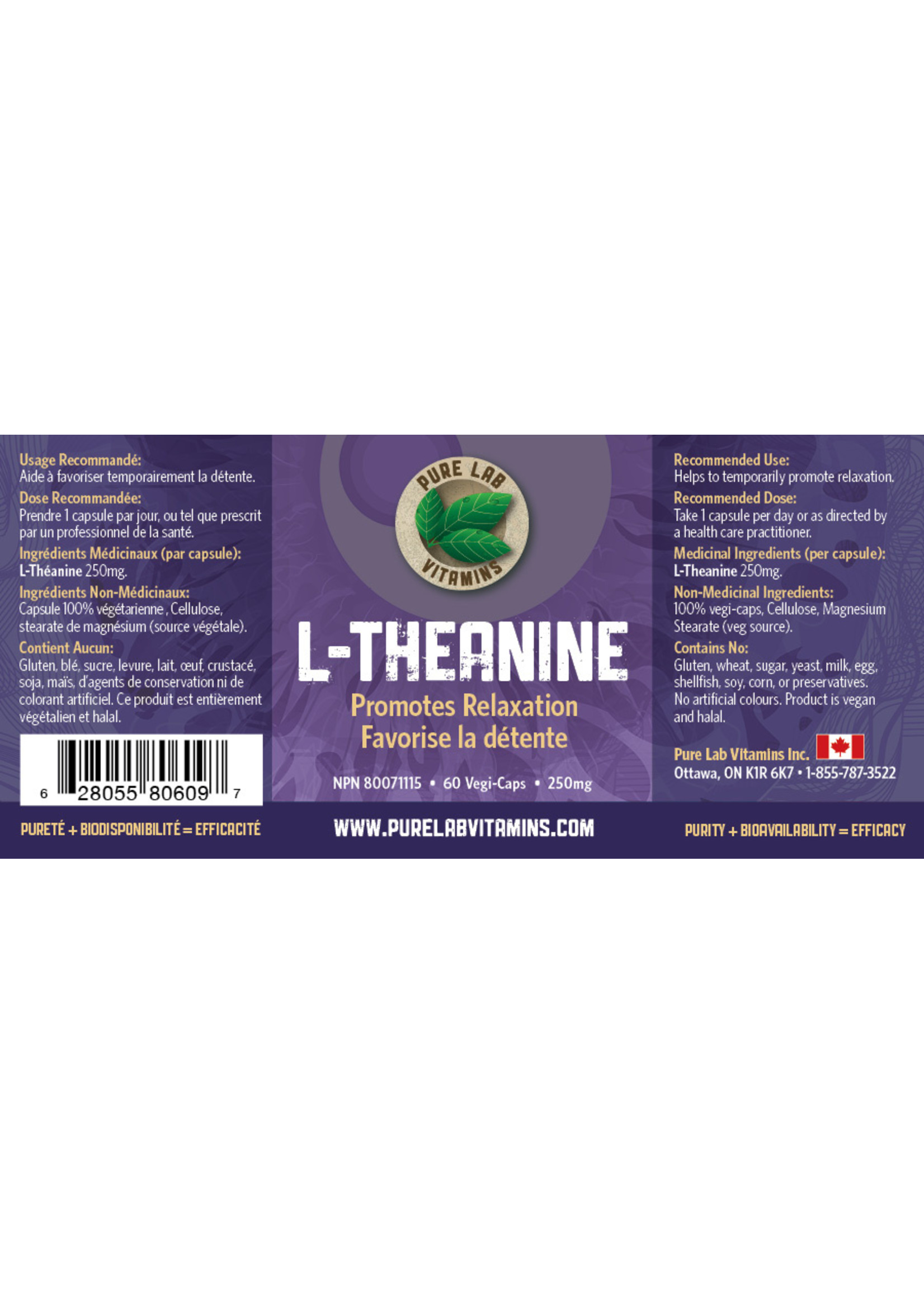 Pure lab Pure Lab L-Theanine 250mg 60 caps