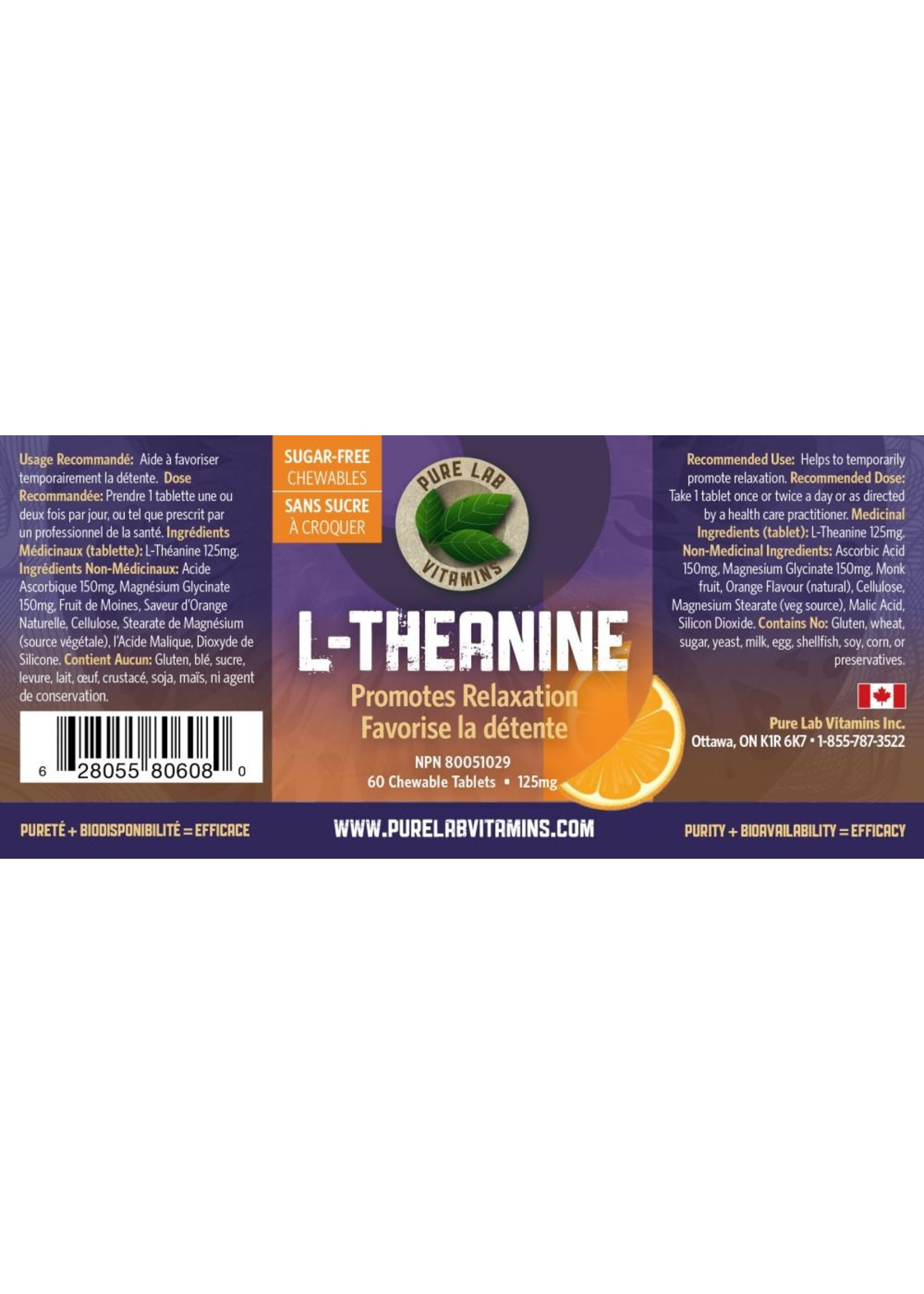 Pure lab Pure Lab L-Theanine Chewables 125mg