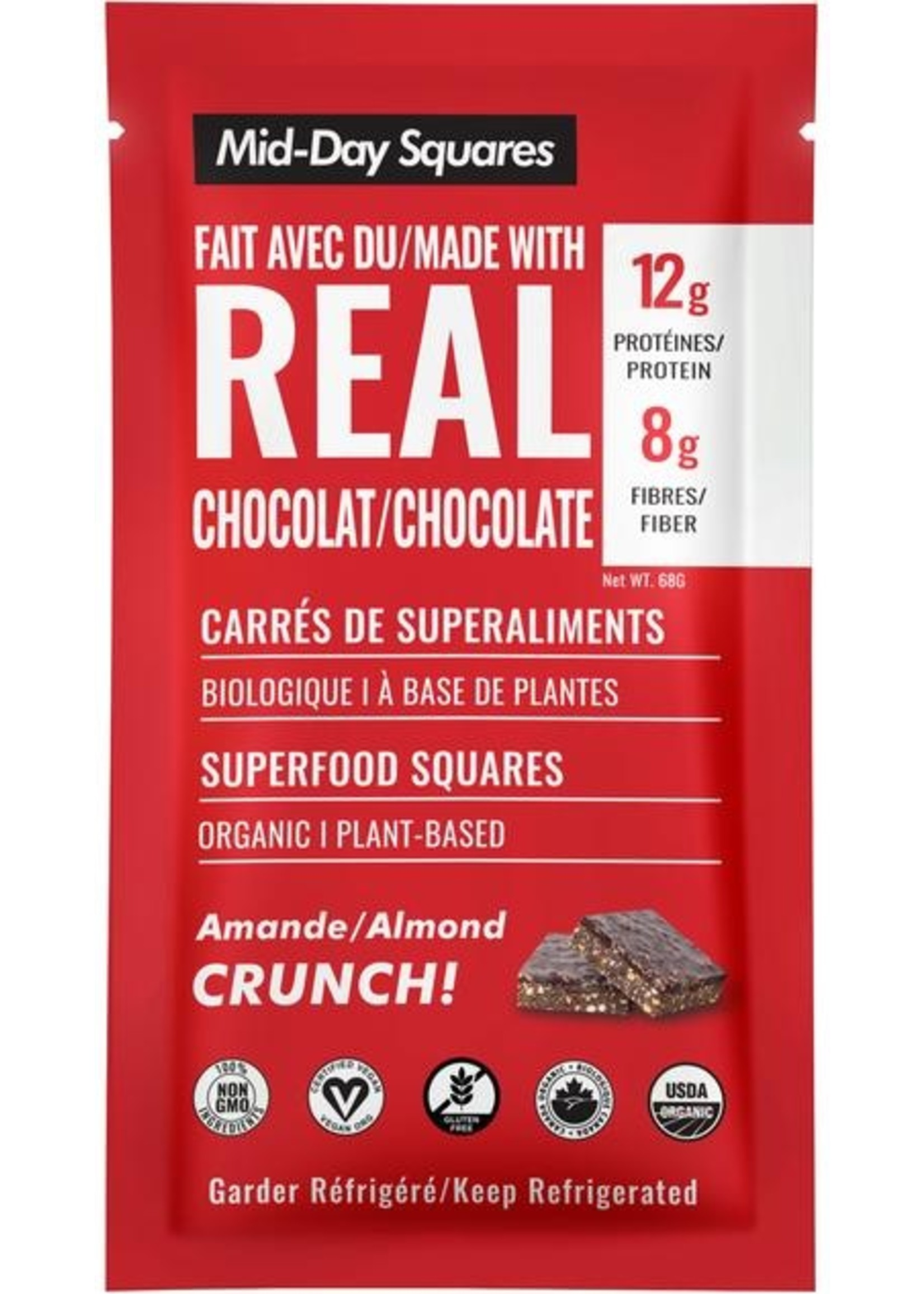 Mid Day Squares Mid Day Squares Superfood Squares w/Real Chocolate, Almond Crunch, Organic (raw/gluten free/vegan)