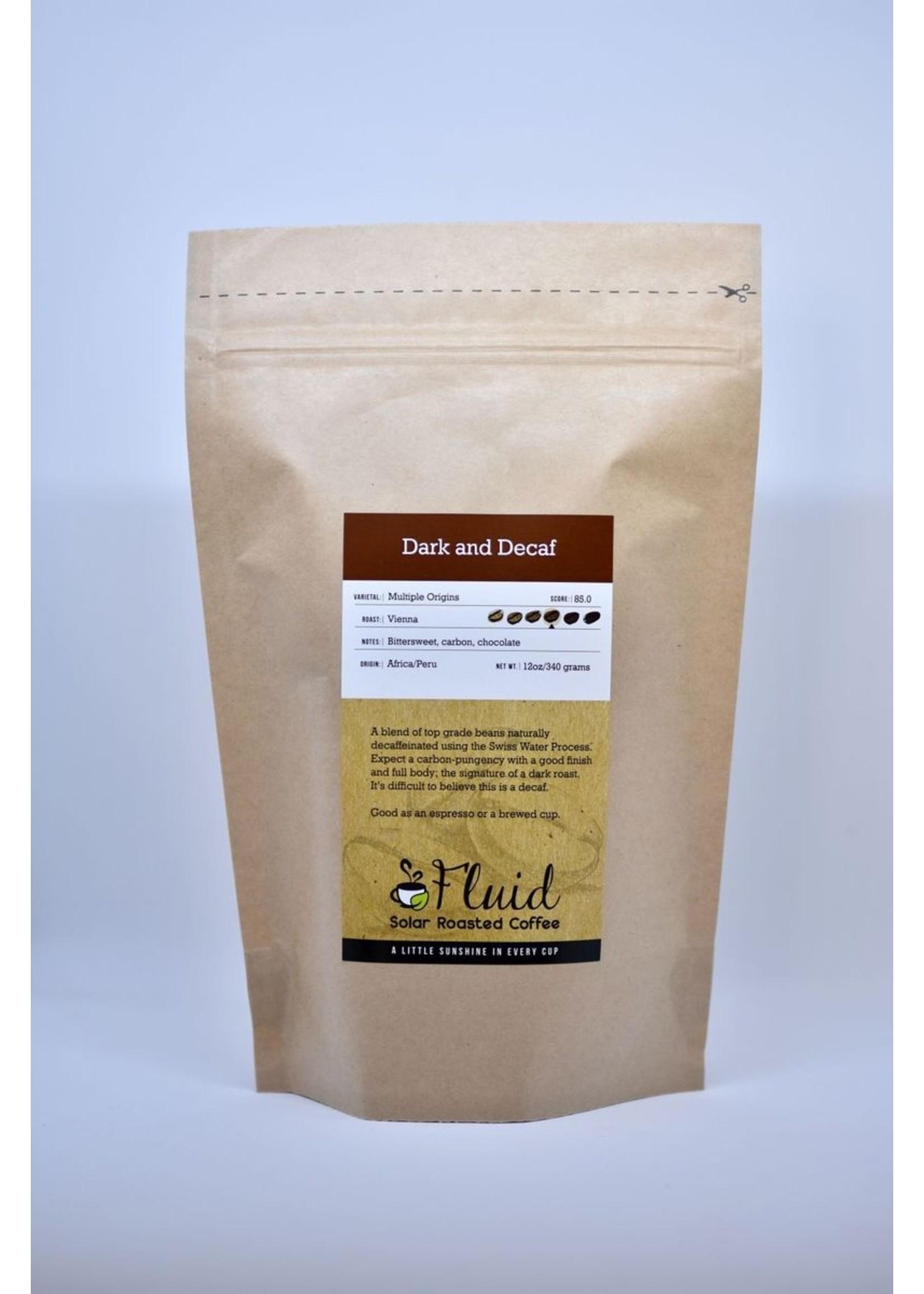 Fluid Coffee Fluid Solar Roasted Coffee - Whole Bean:Dark & Decaf- 12oz
