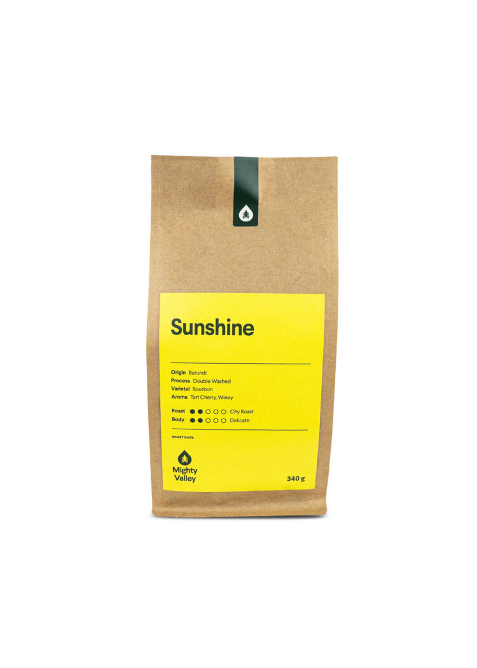 Mighty Valley Mighty Valley Whole Bean Coffee - Sunshine Blend 340 gram