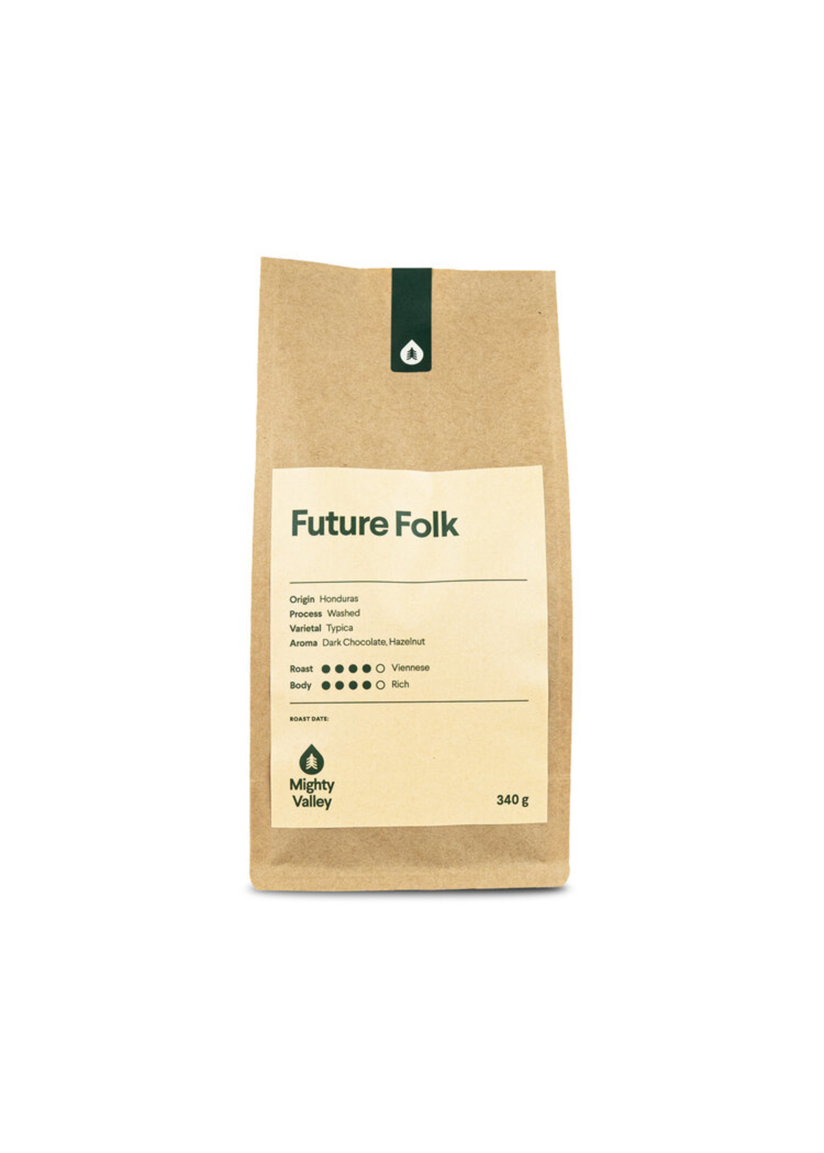 Mighty Valley Mighty Valley Whole Bean Coffee - Future folk 340 gram