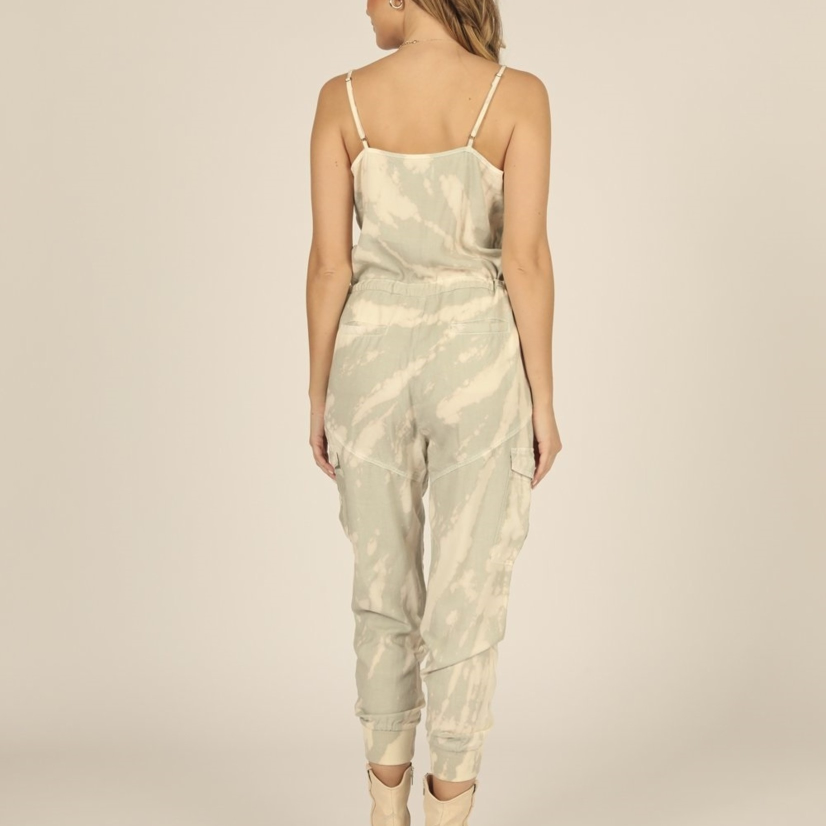 Flying Point Button Front Tencel Jumpsuit