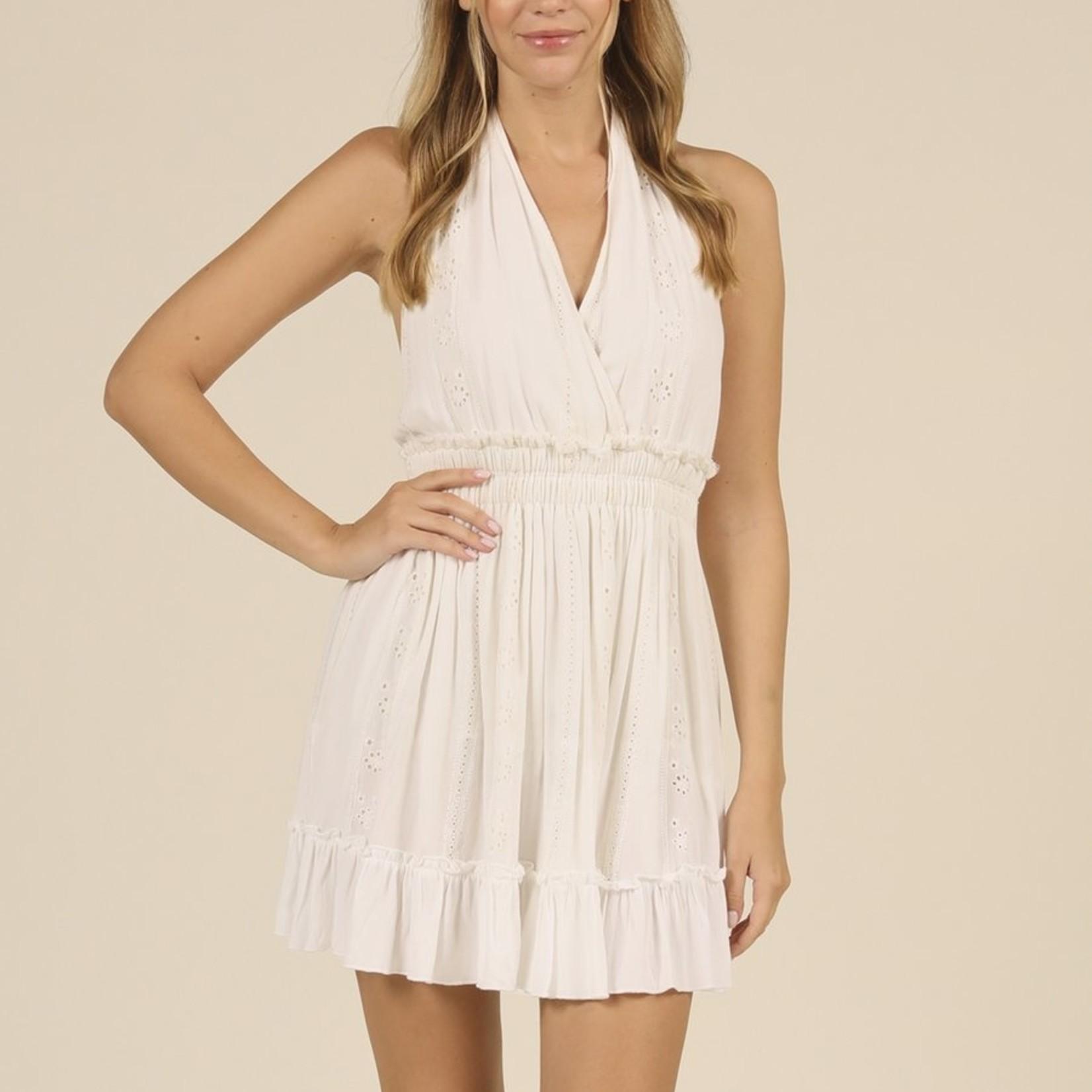 Flying Point Texture Halter Dress