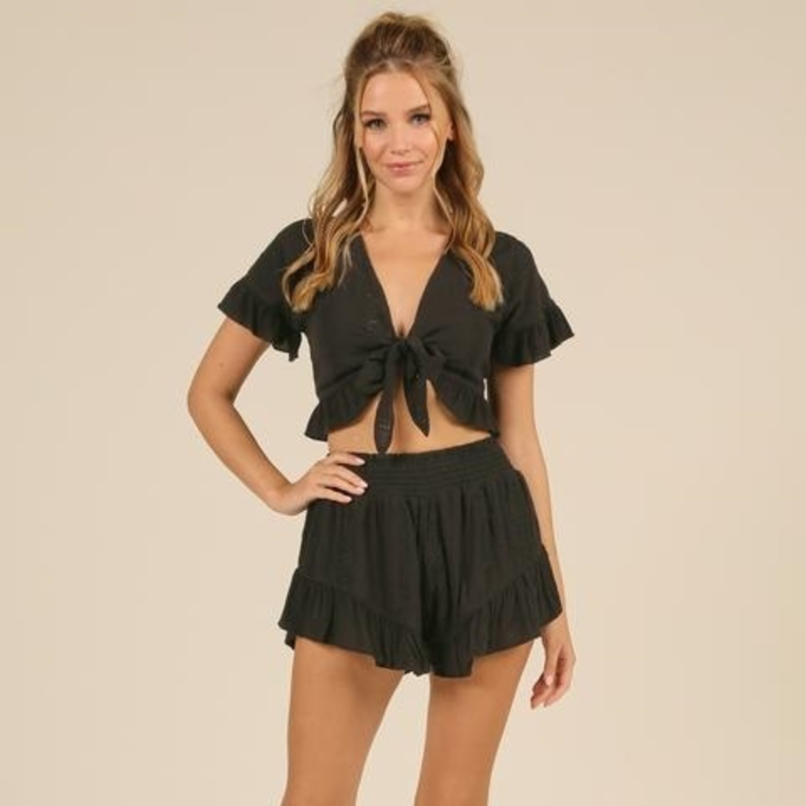 Flying Point Eyelet Tie Front Top