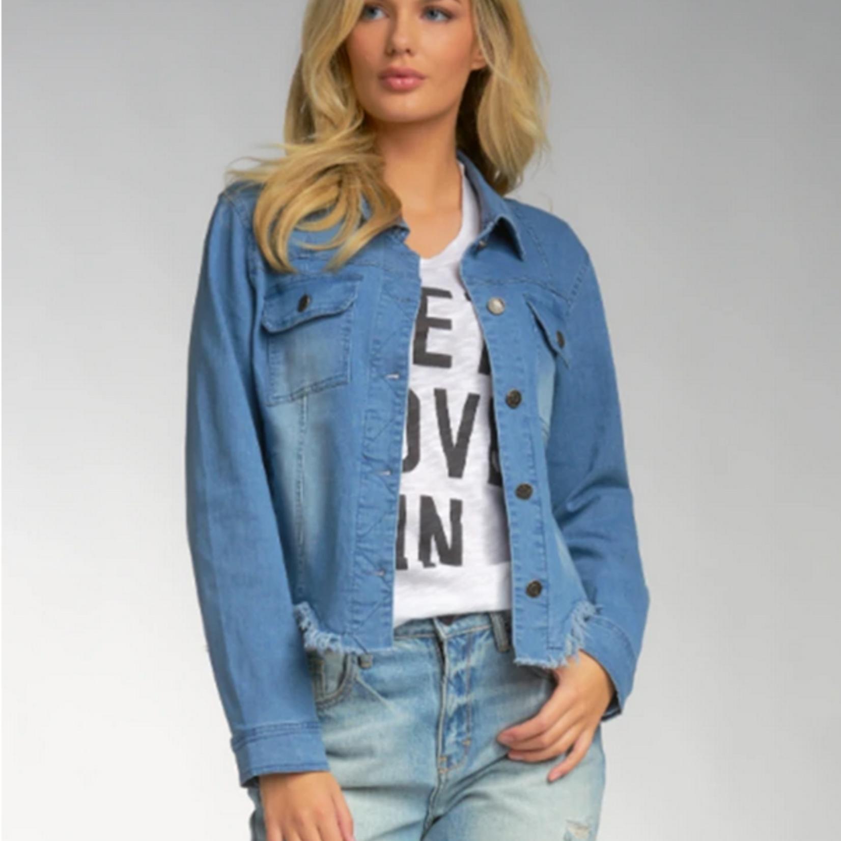 Elan Elan Denim Jacket w/ Frayed Bottom
