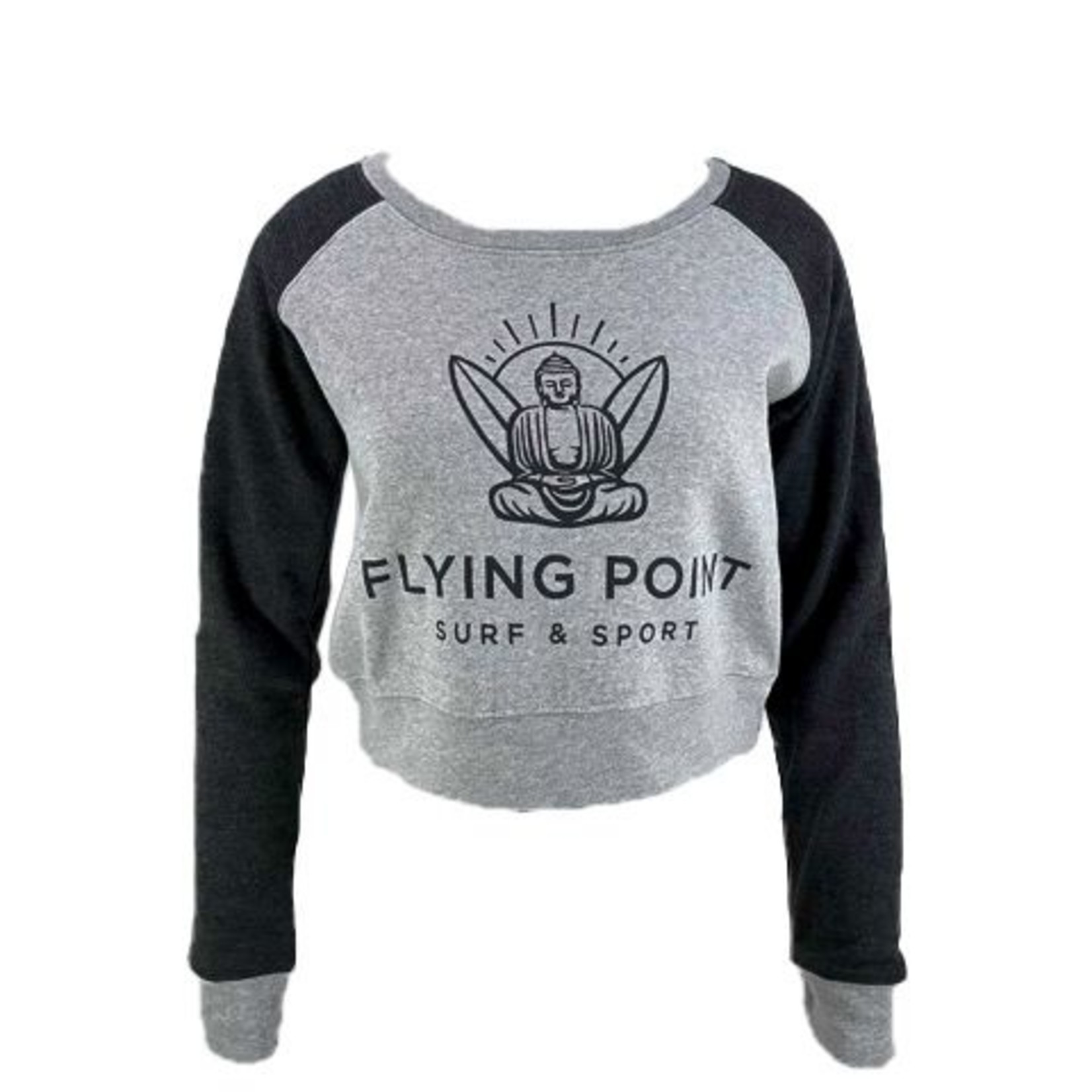 Flying Point Buddha Camila Cropped Colorblock Crew Charcoal Sweatshirt