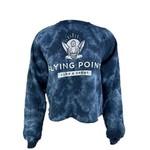 Flying Point Buddha Crop Crew Navy Tie Dye / White
