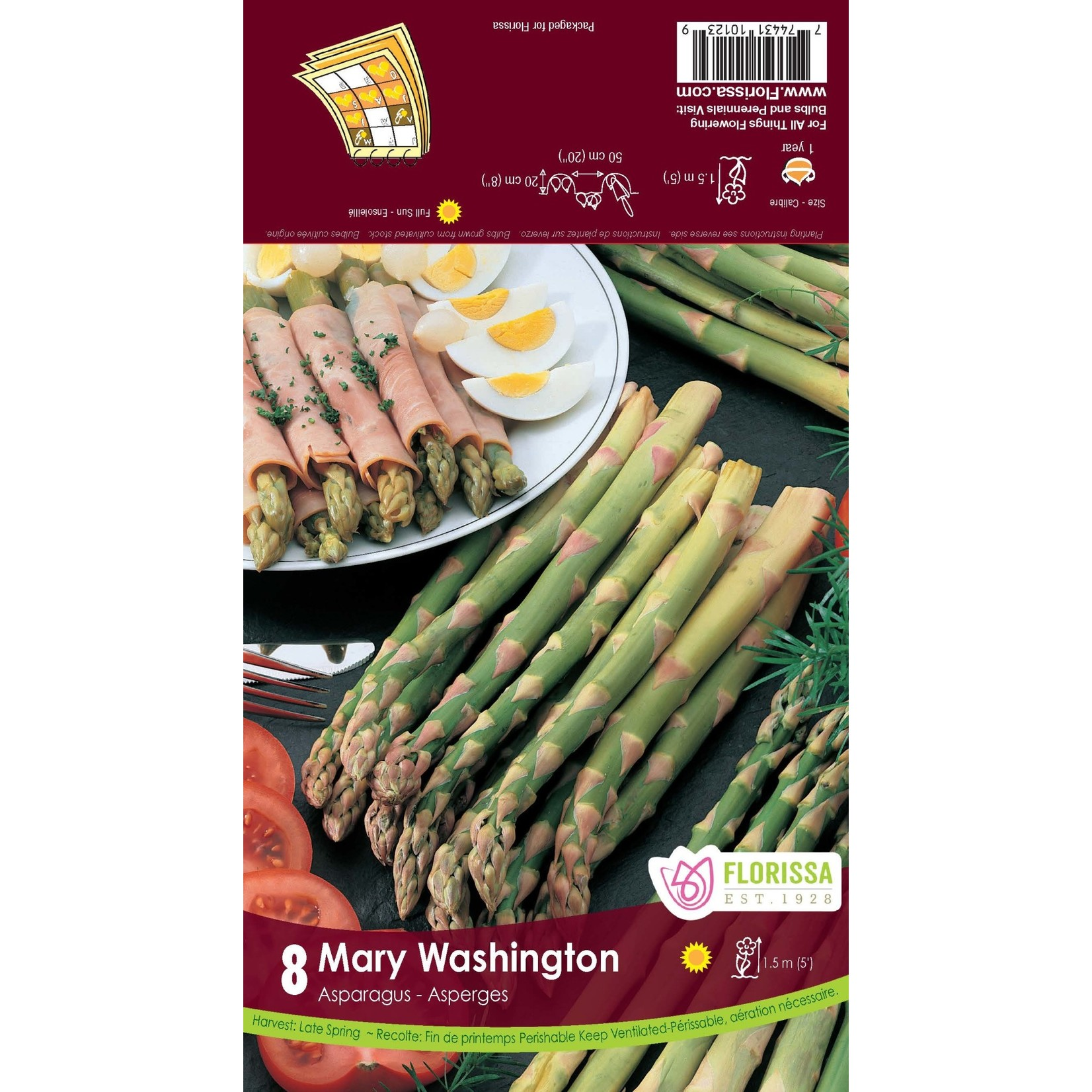 Asparagus (root pkg) - Mary Washington (8 roots)