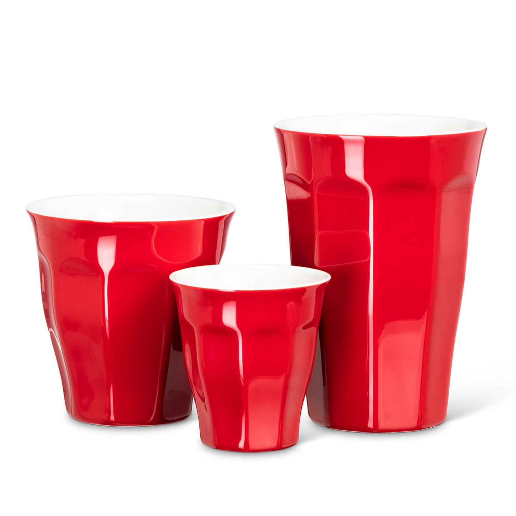 Red Panelled Porcelain Tumbler