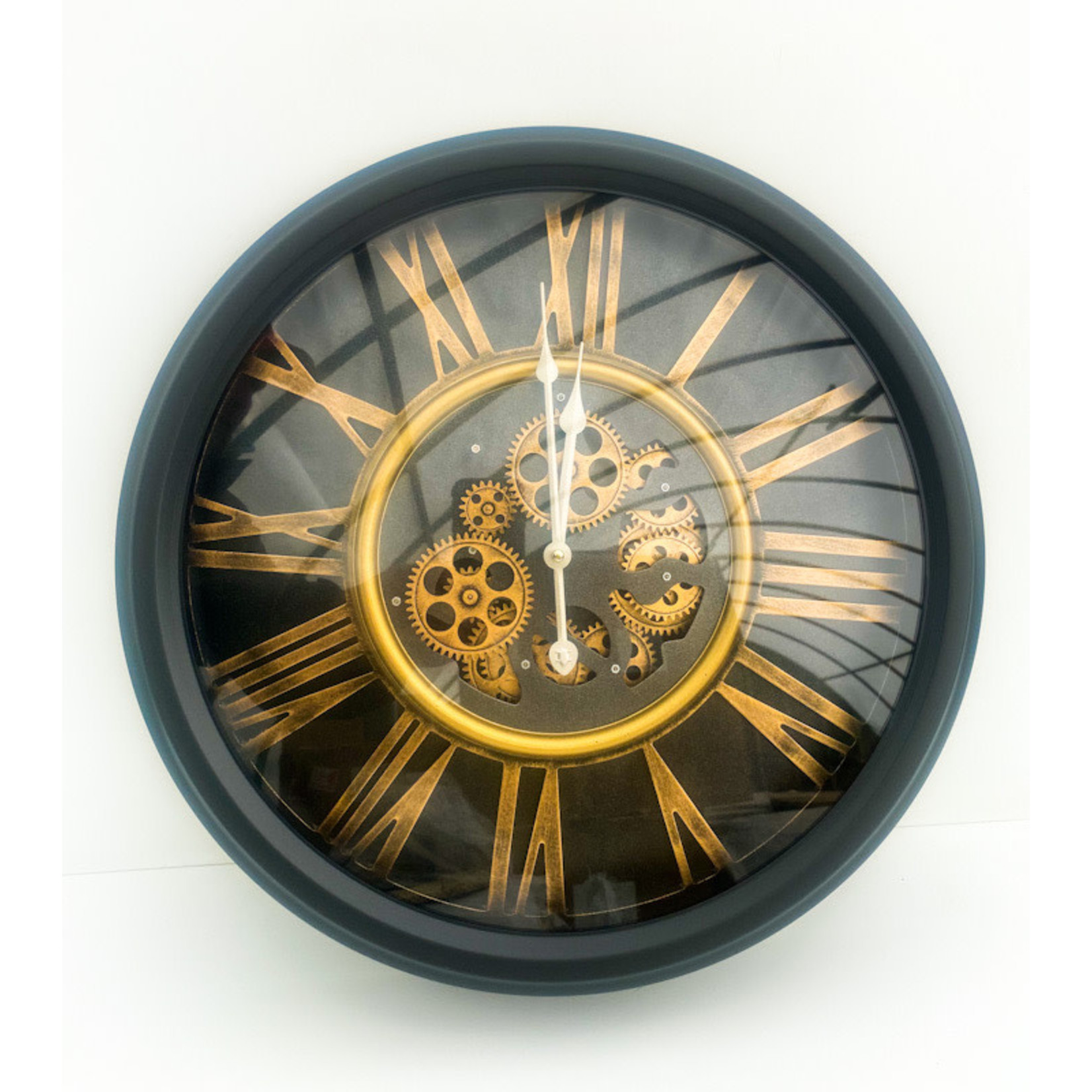 Clock - Black with Gears