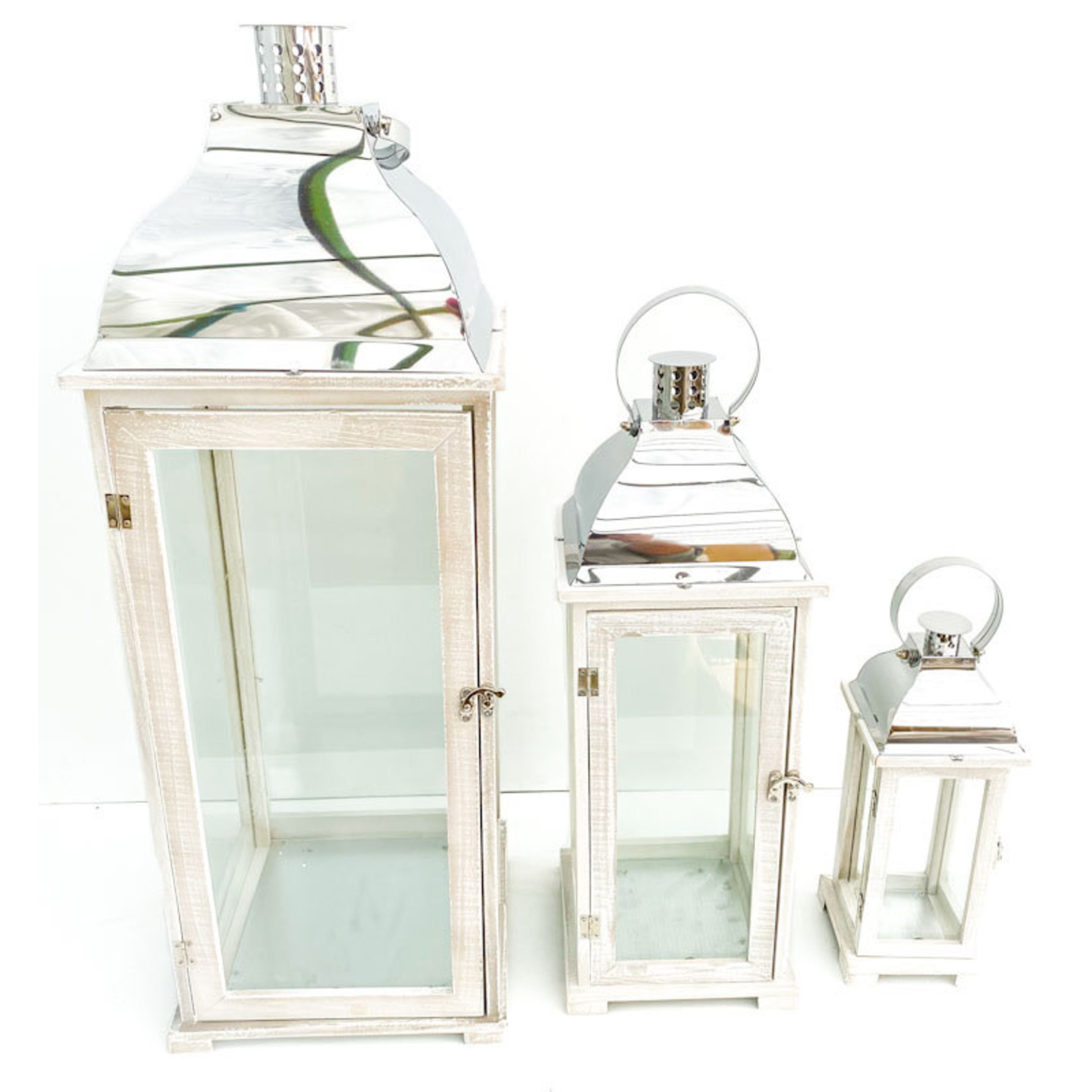 Lantern - white with silver top