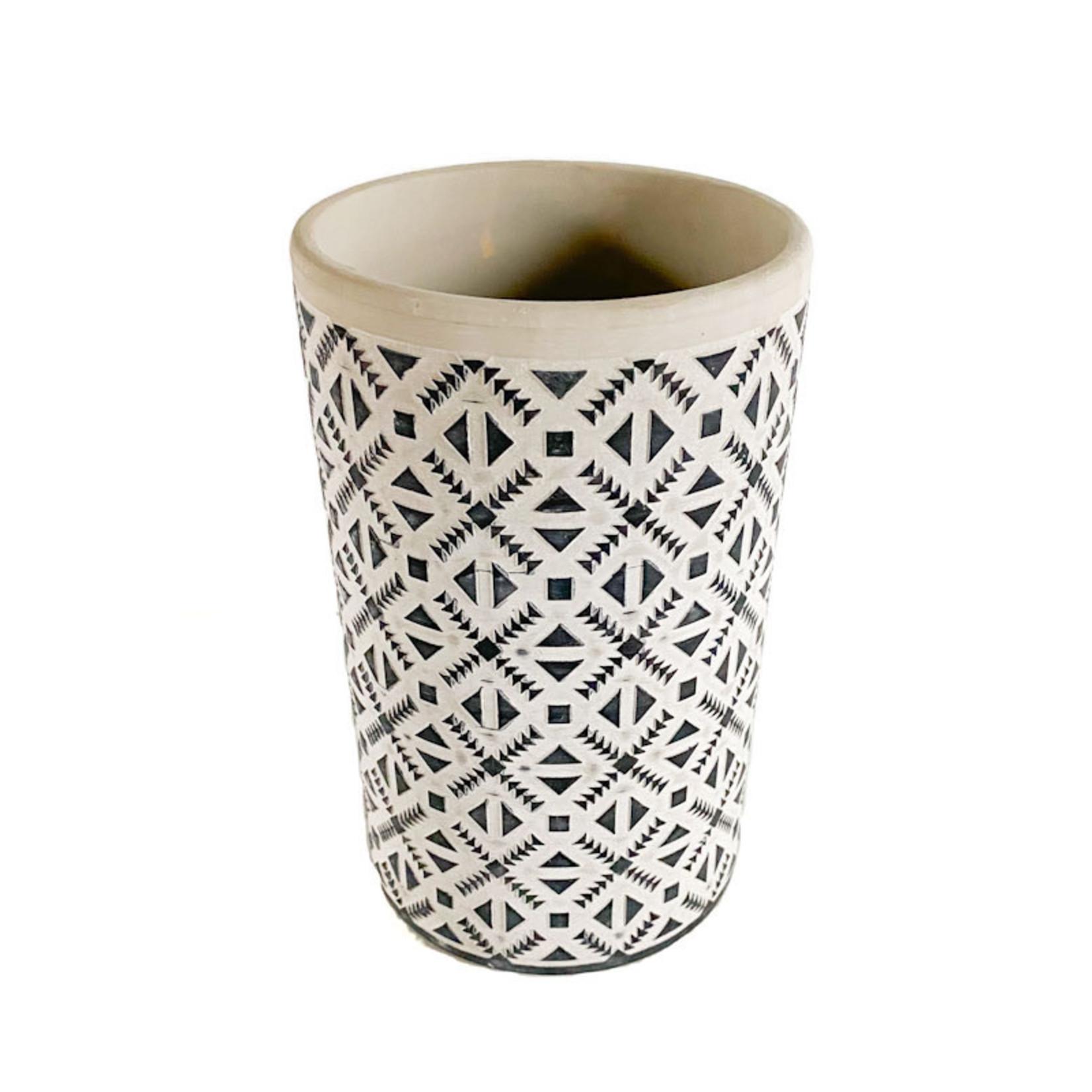 Tall Grey Clay Pot - Blue Detail