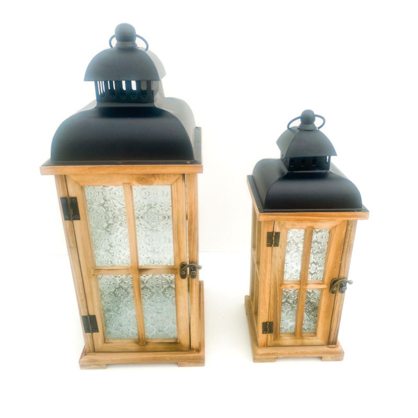 Lantern - floral glass