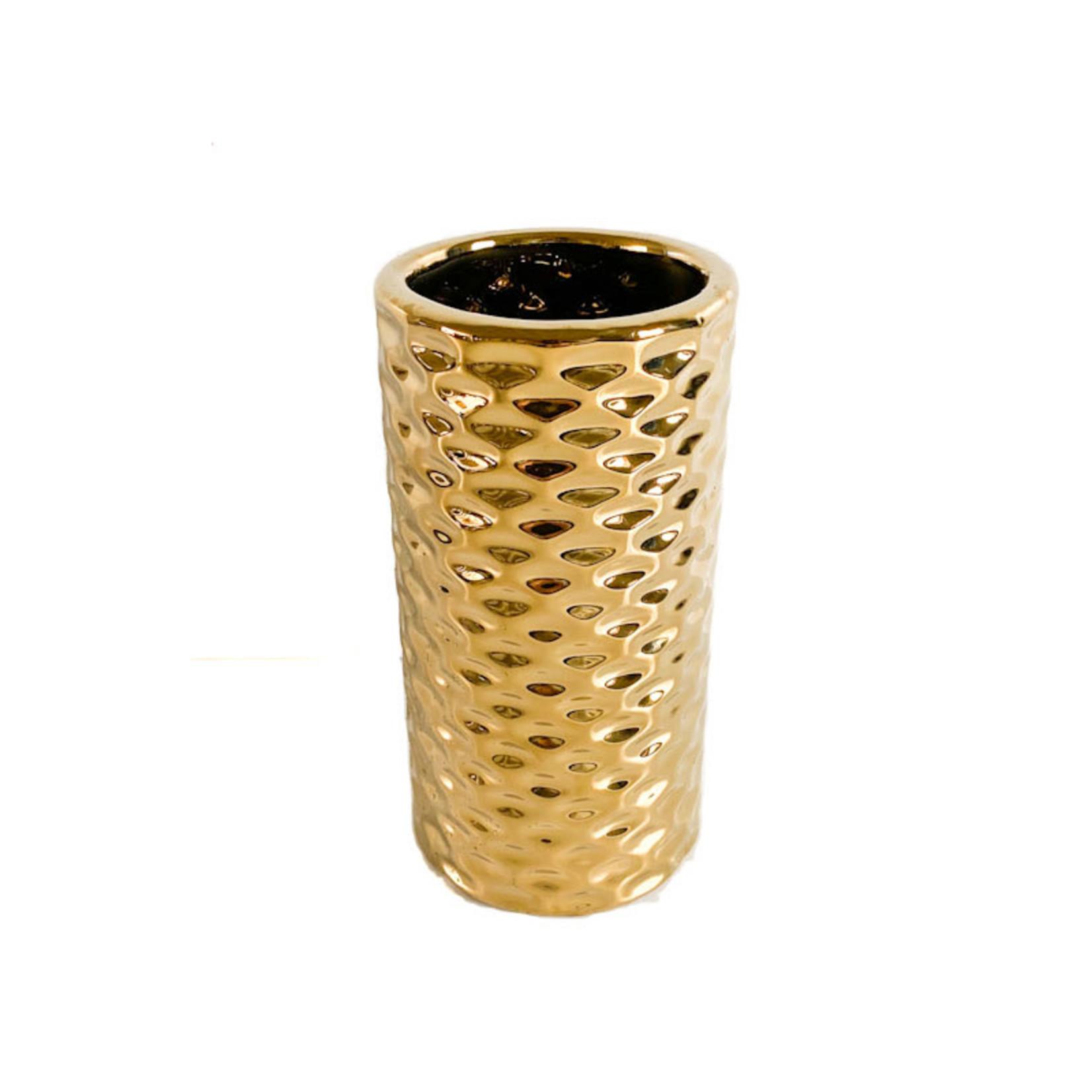 Flower Pot - gold tall round