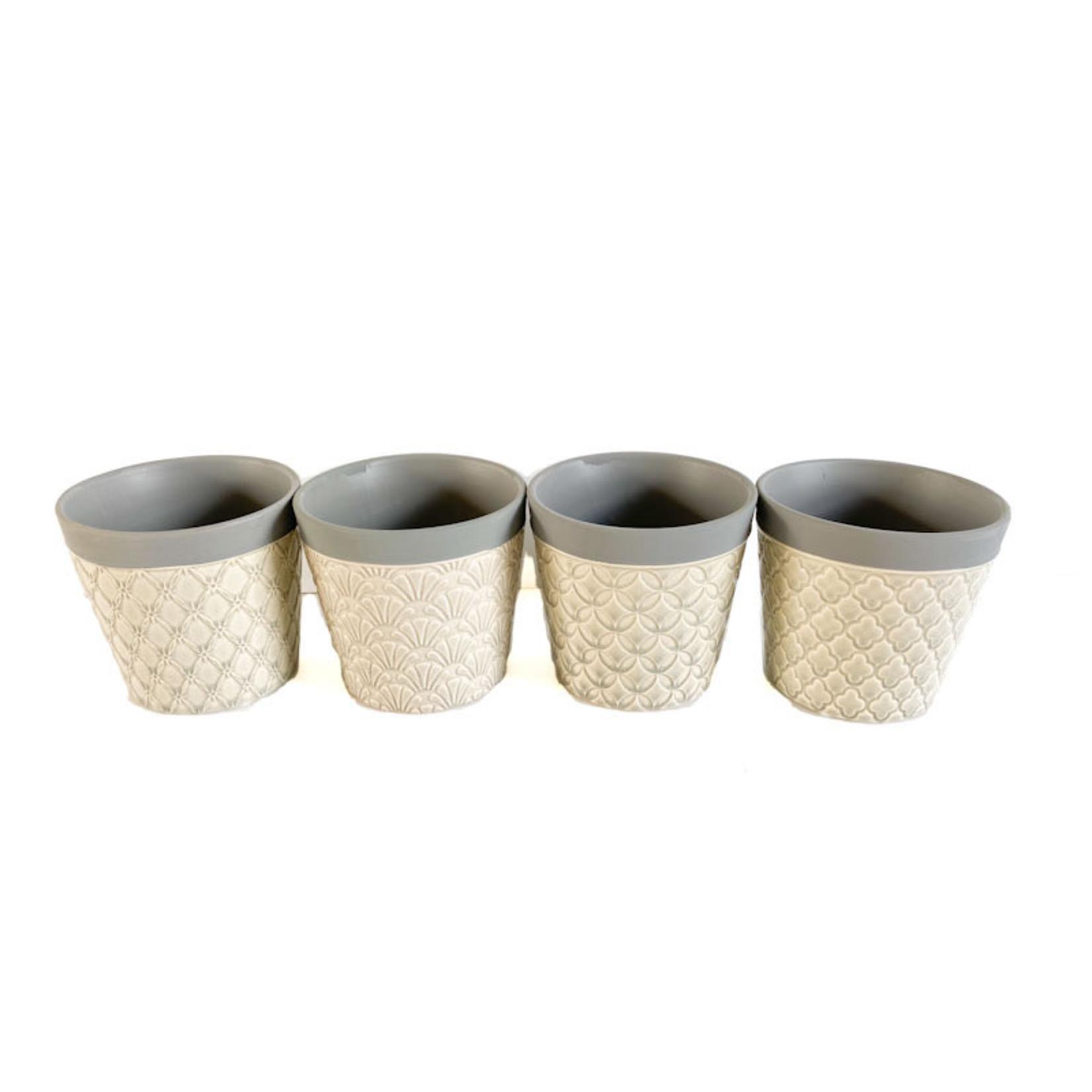Pot - Grey with Cream Pattern