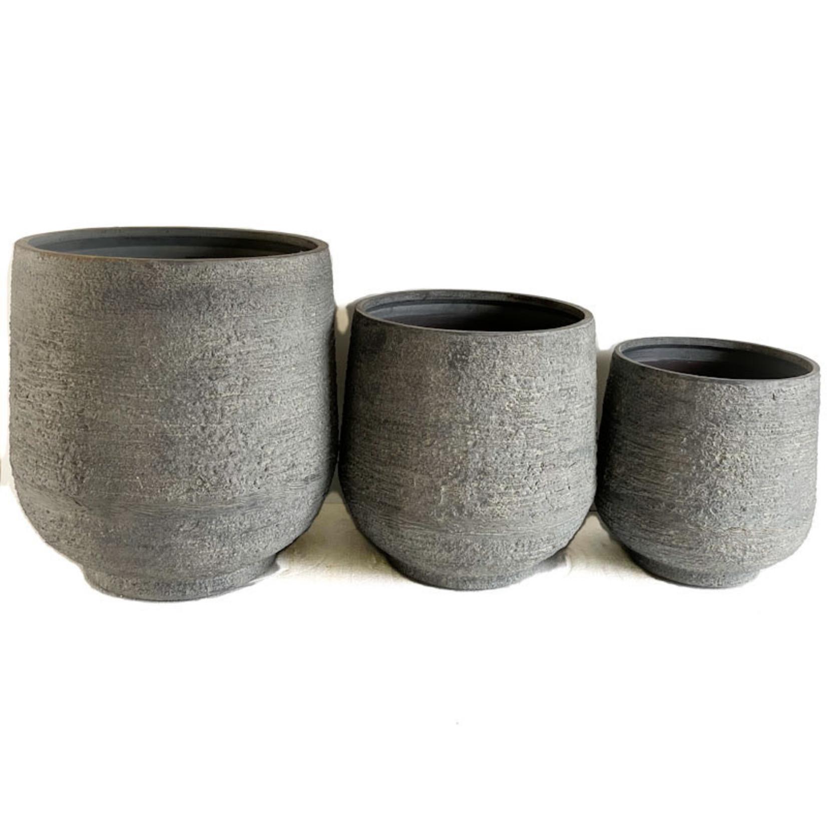 Medium Cylinder Planter - Cobblestone Grey