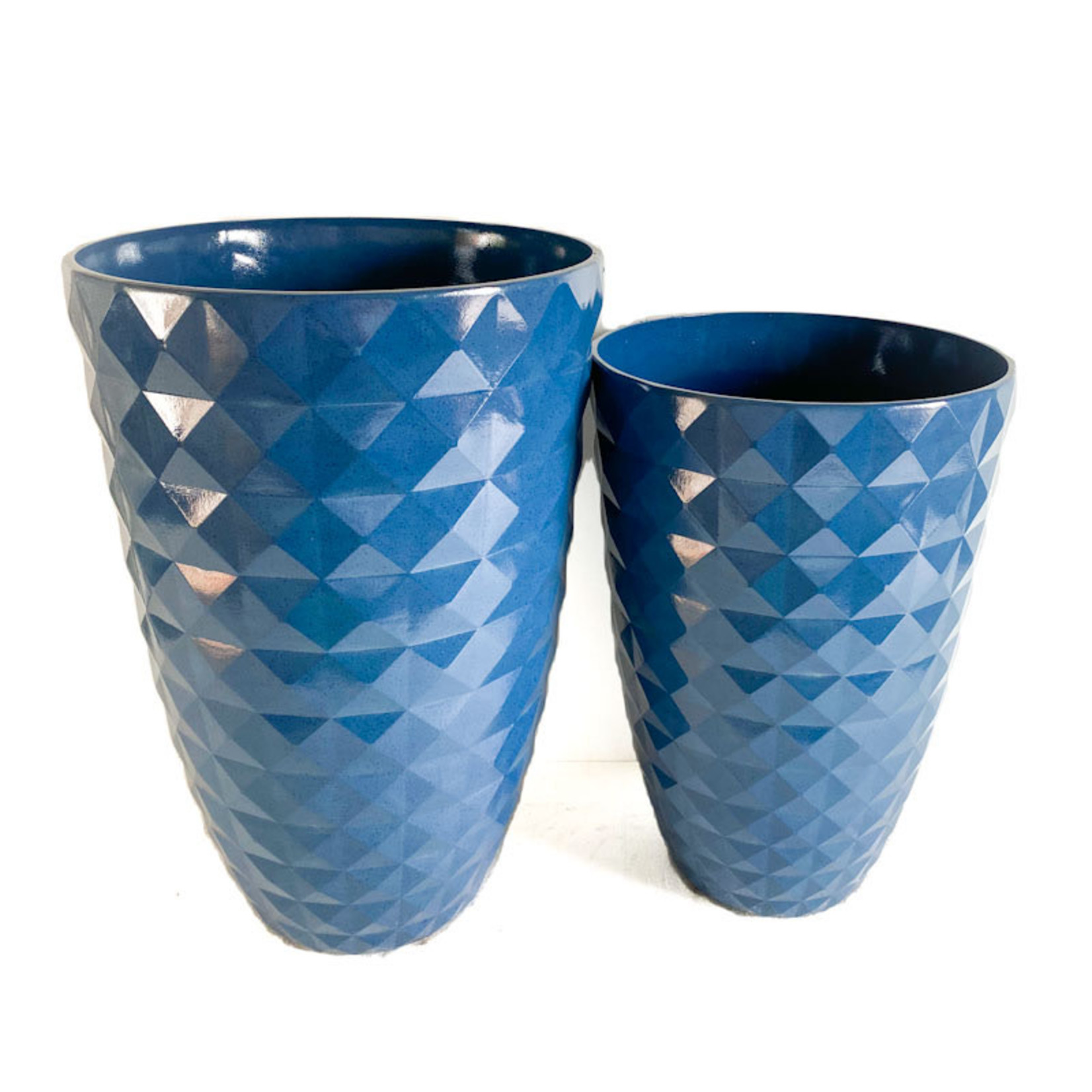 Raised Square Planter - Blueberry Glaze