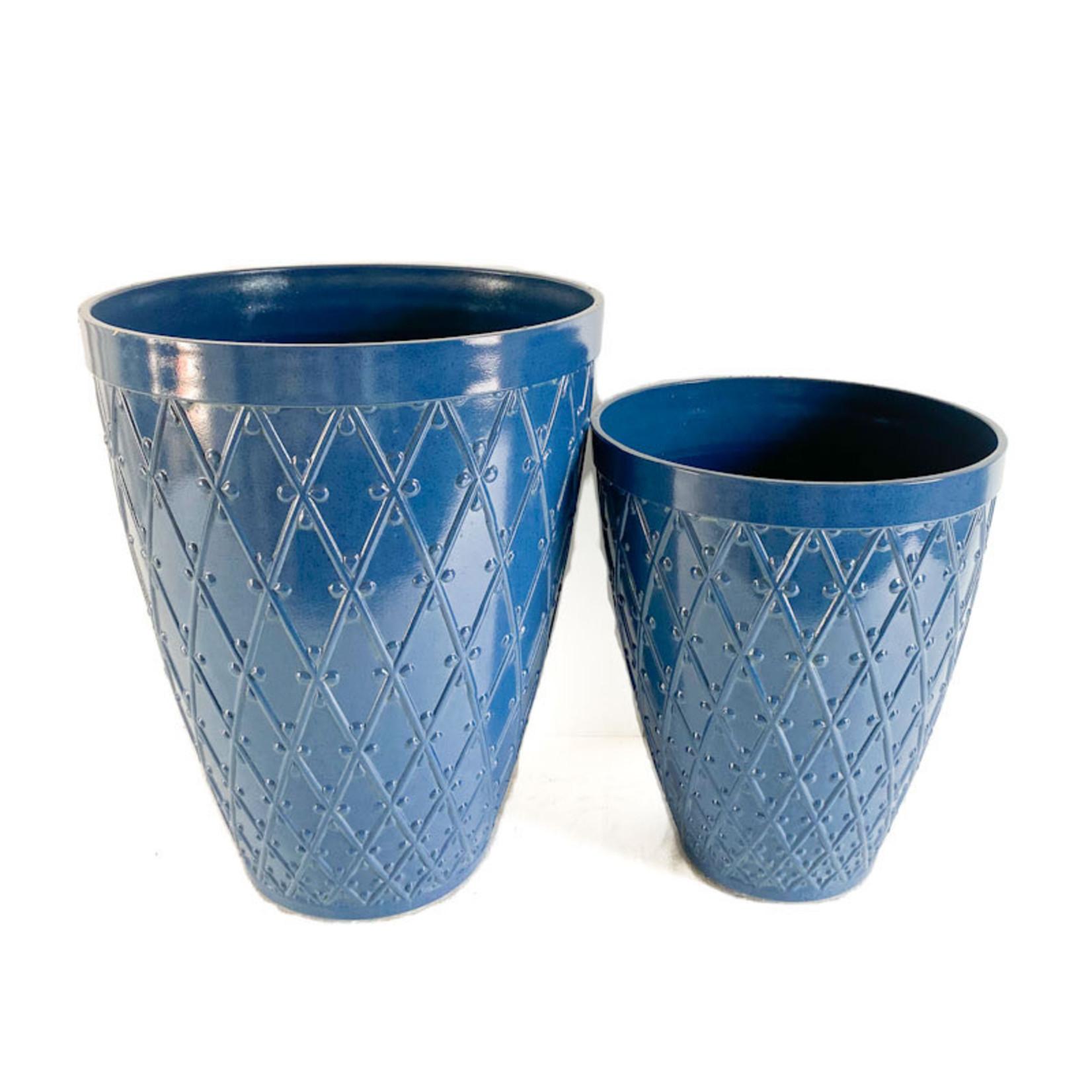 Raised Diamond Planter - Blueberry Glaze
