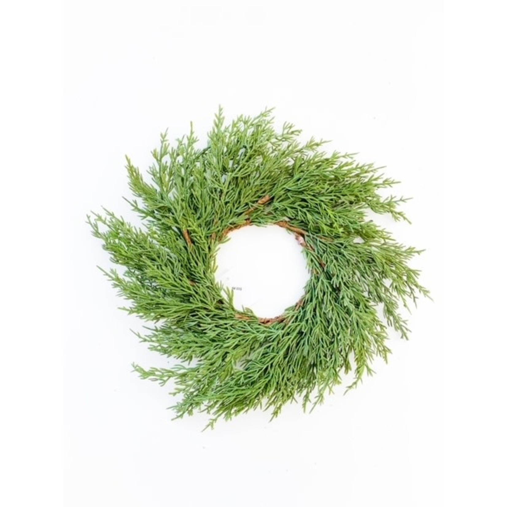 """14"""" Green Cypress Candle Wreath"""