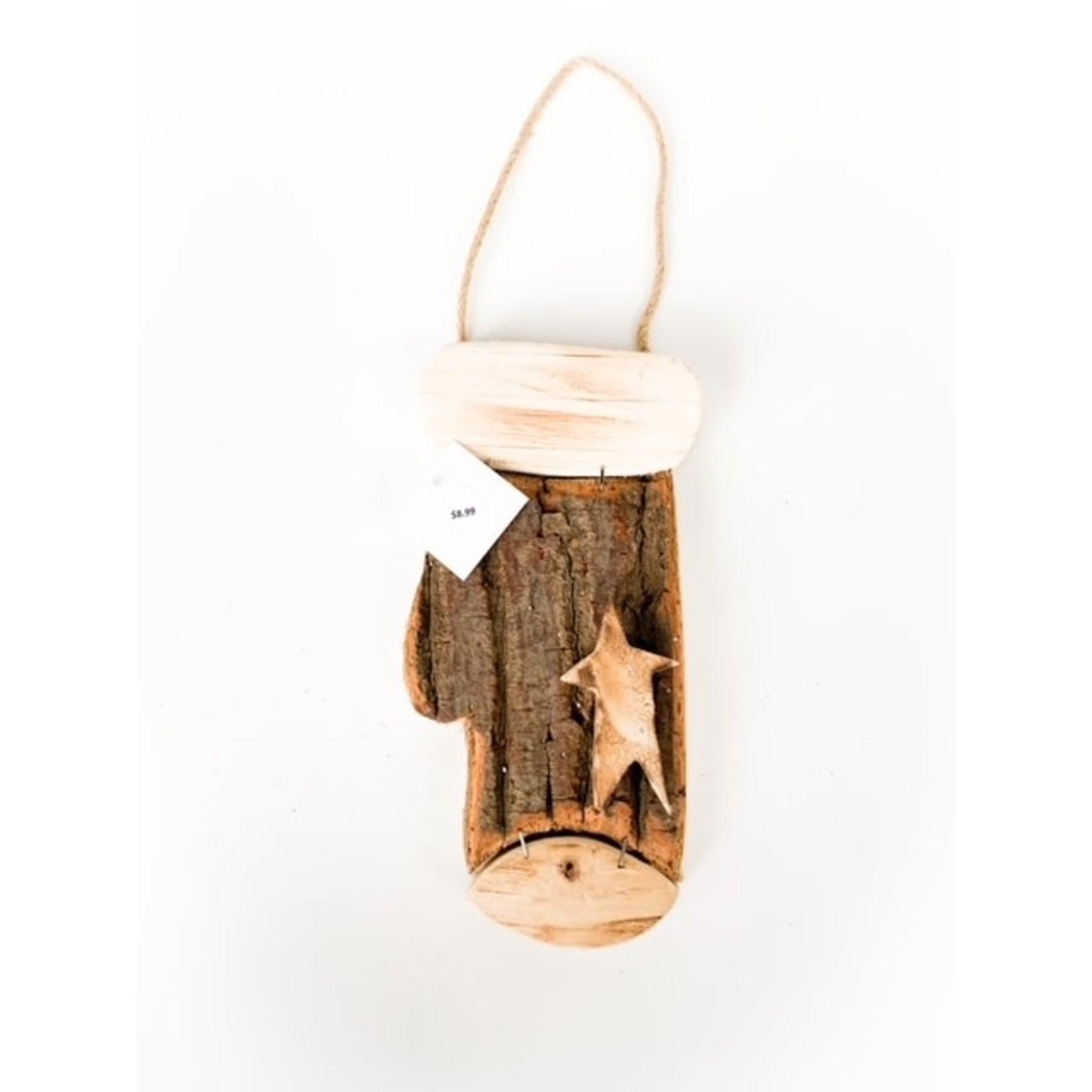 Wood Mitten with Star