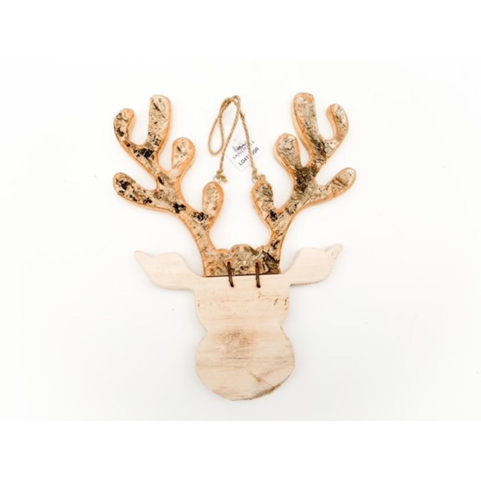 Wood Moose Head with Rope
