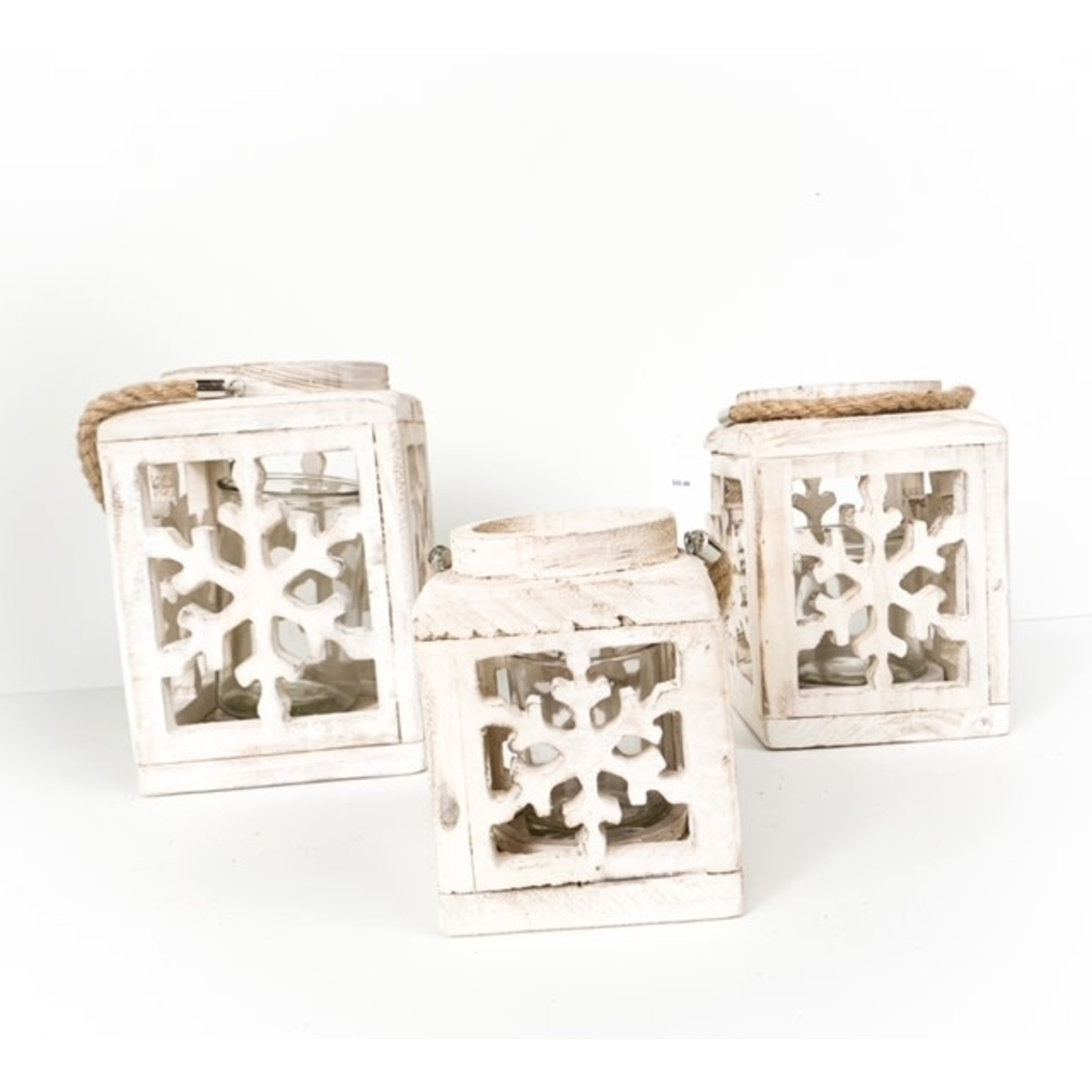 White Wood  Lantern with Snowflake Cutout