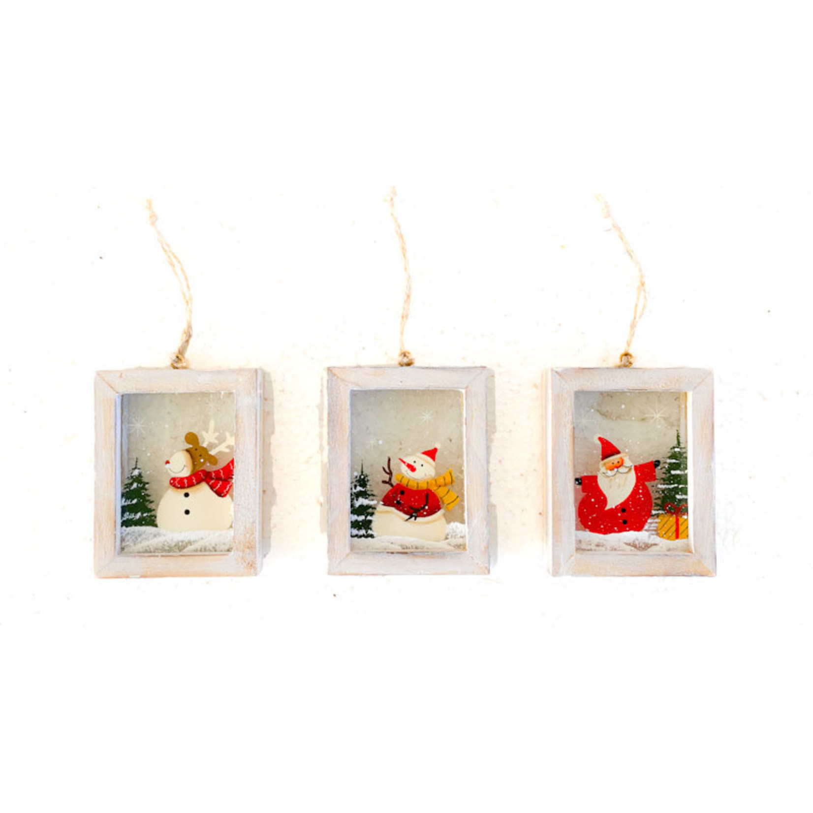 Ornament - Framed Glass w Santa or Snowman