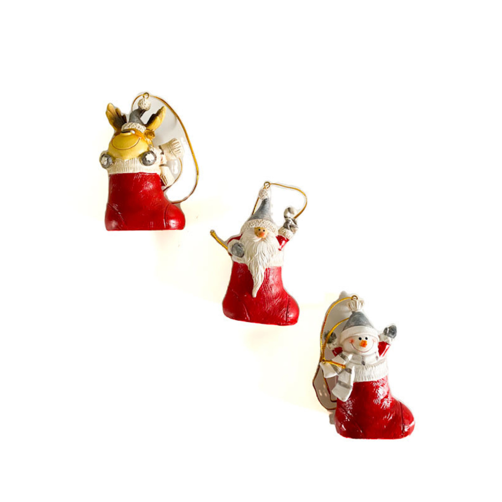 Ornament - Santa/Snowman/Deer in Stocking