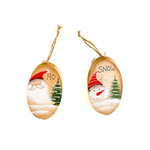 Ornament - Wood oval - Santa or Snowman