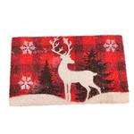 Doormat - Black & Red Plaid with Deer & Trees