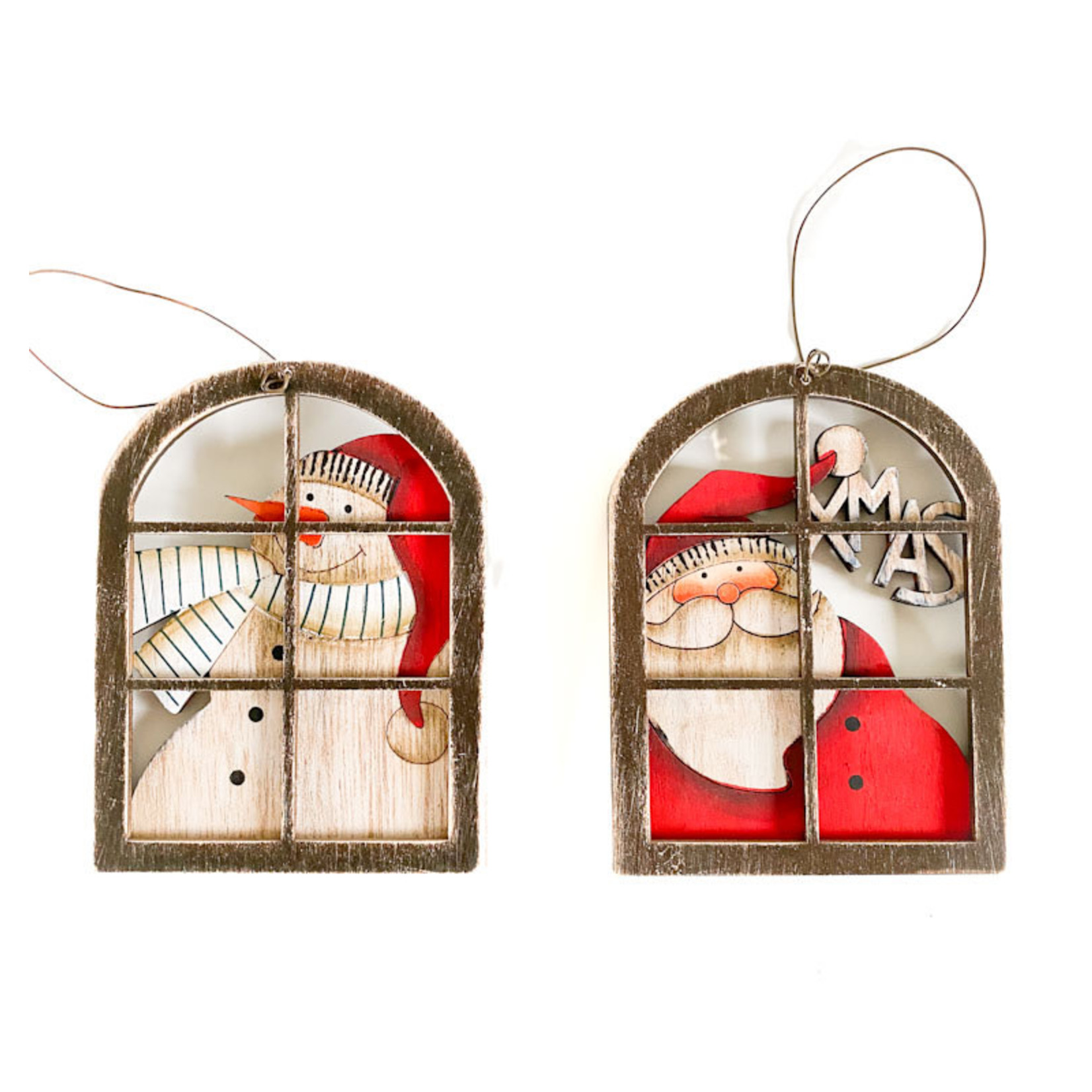 """Ornament -Santa/Snowman Window - 4.5"""""""