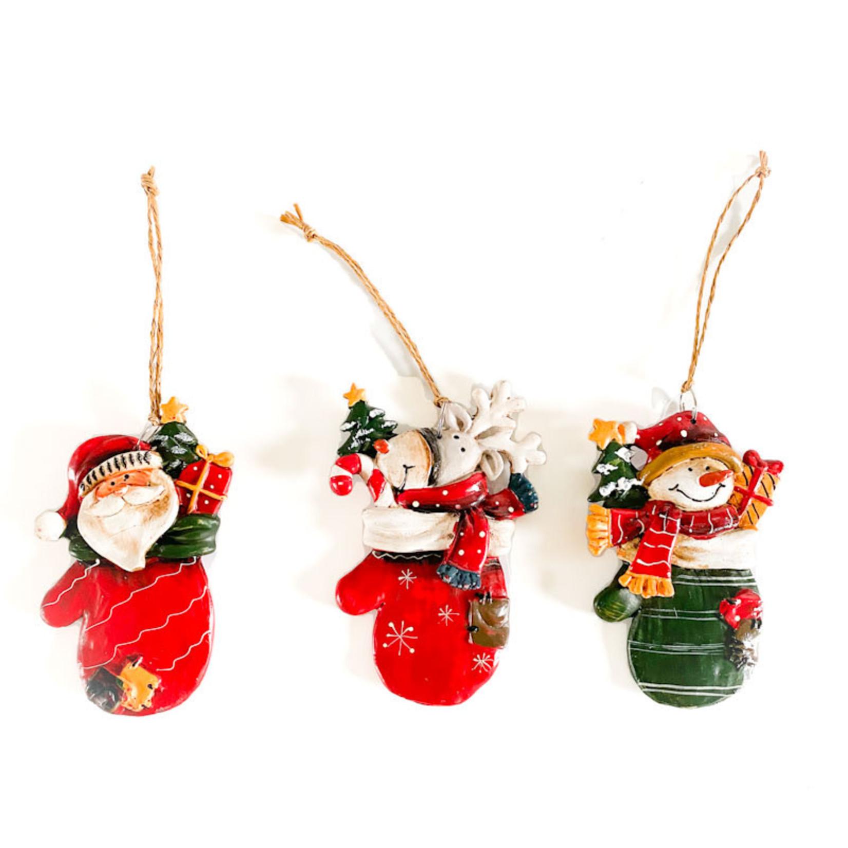 "Ornament - 3 1/2"" Santa, Snowman, Deer"