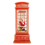 """Waterglobe - 10"""" Red LED Phone Booth with SANTA"""