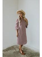 Roolee Roolee, Joy Plaid MOM Dress in Raspberry
