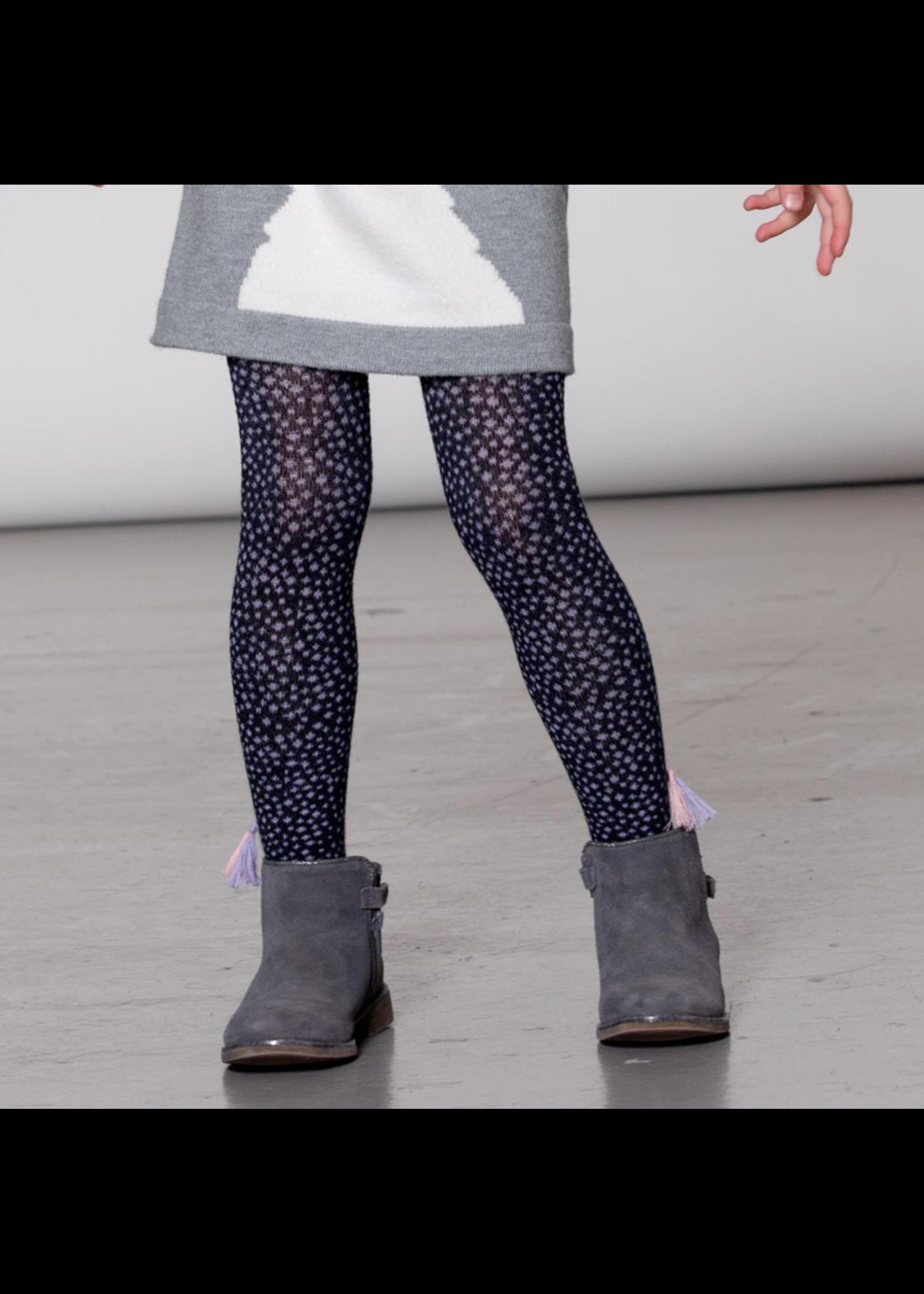 Deux Par Deux Deux Par Deux, Navy Dotted Knit Tights With Tassels for Girl