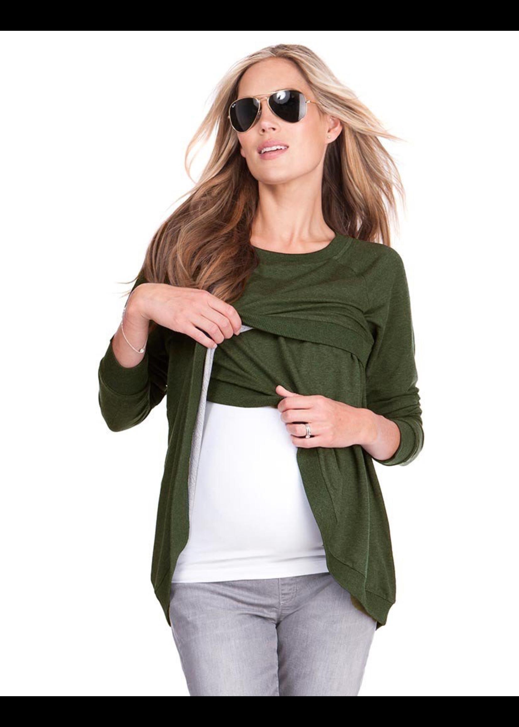 Seraphine Seraphine, Sybil, Crossover Maternity & Nursing Sweater In Olive