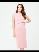 Ripe Maternity Ripe Maternity, Layered Knit Nursing Dress in Pink